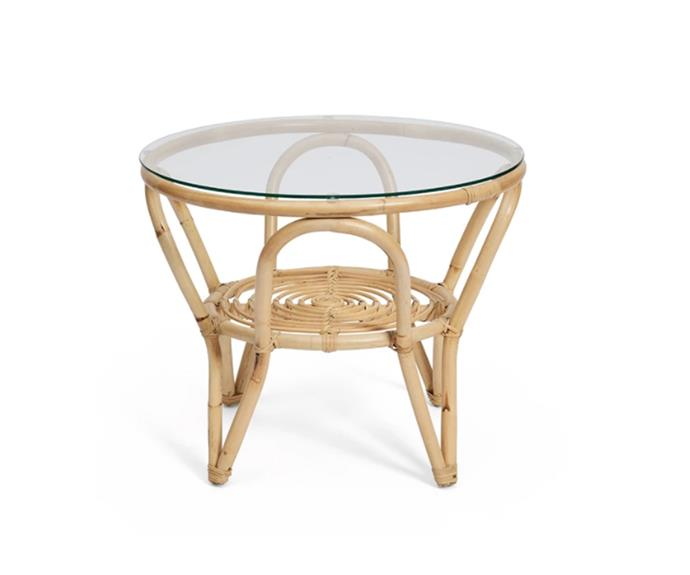 "Cane Weave Bend coffee table, $399, [Harpers Project](https://www.harpersproject.com/collections/outdoor-furniture/products/cane-weave-bend-coffee-table|target=""_blank""