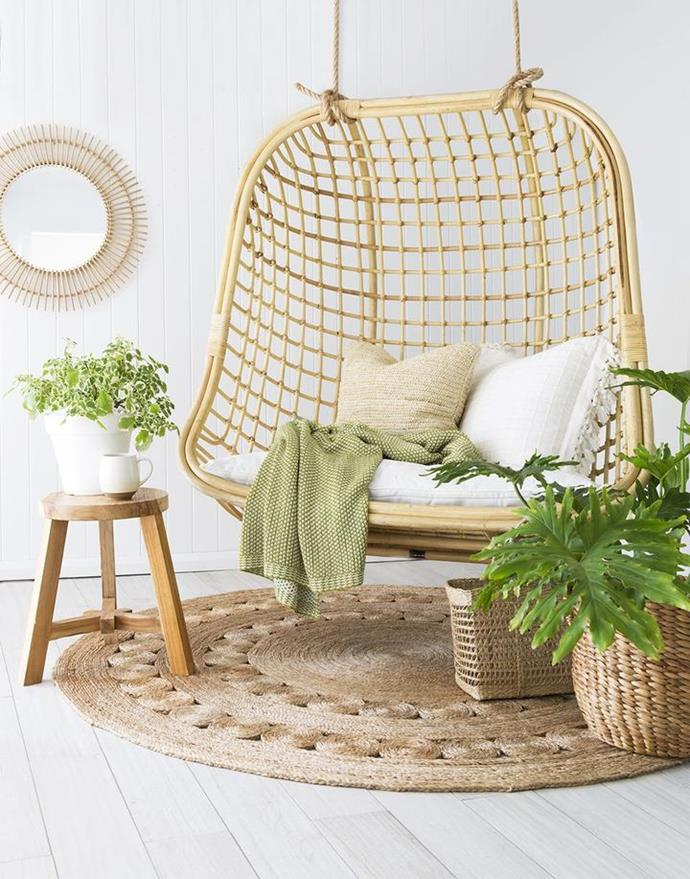 "Coco Double hanging chair, $850, [Byron Bay Hanging Chairs](https://www.byronbayhangingchairs.com.au/collections/hanging-chairs/products/coco-love-seat|target=""_blank""
