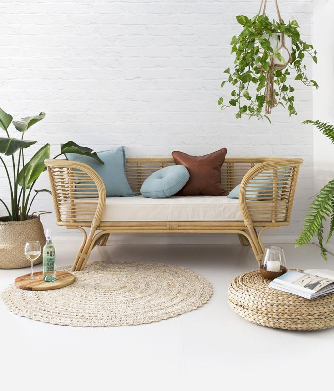 "Arizona Lounger, $950, [Byron Bay Hanging Chairs](https://www.byronbayhangingchairs.com.au/collections/lounges/products/the-lounger|target=""_blank""