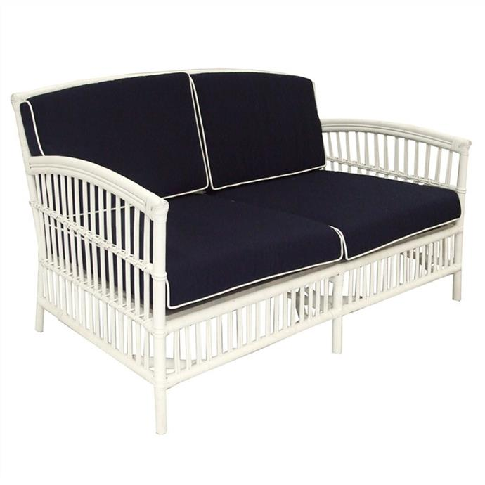 "Royston Rattan 2.5-seater sofa with cushion in White/Navy, $1009, [Living Styles](https://www.livingstyles.com.au/royston-rattan-2-5-seater-sofa-with-cushion-white-navy/|target=""_blank""