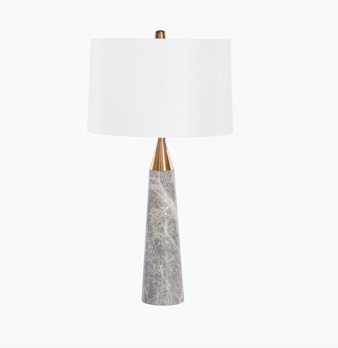 """Ella Table Lamp in grey marble, $625, [Coco Republic](https://www.cocorepublic.com.au/ella-table-lamp-grey-marble