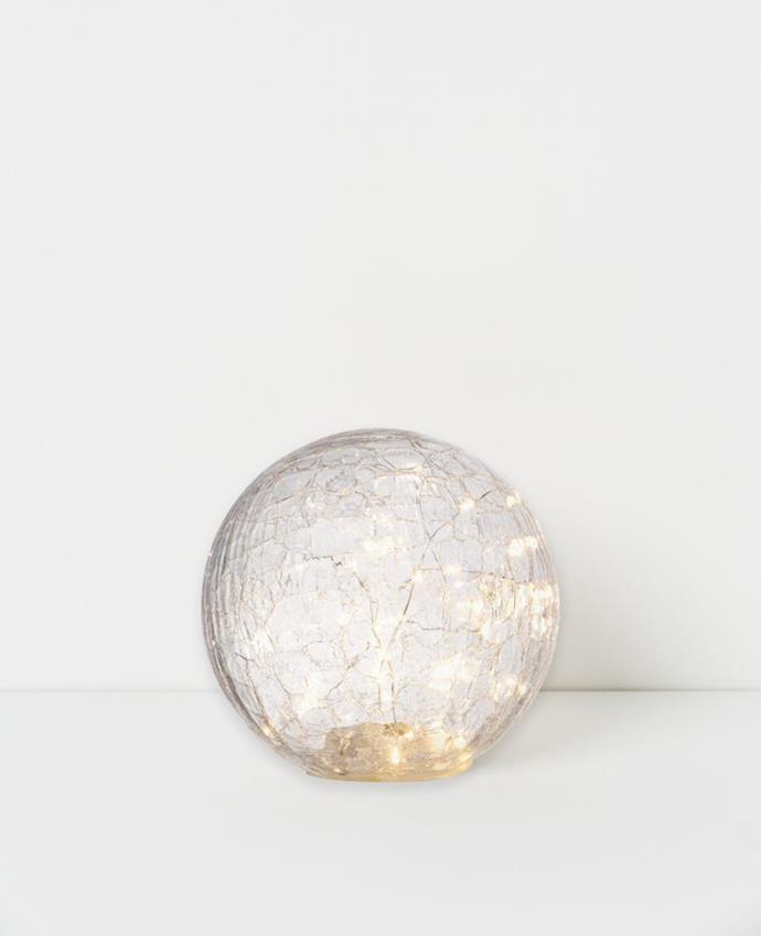 "Drift Led Crackle Glass Ball, $79.95, [Papaya](https://www.papaya.com.au/drift-led-crackle-glass-ball|target=""_blank""|rel=""nofollow"")"