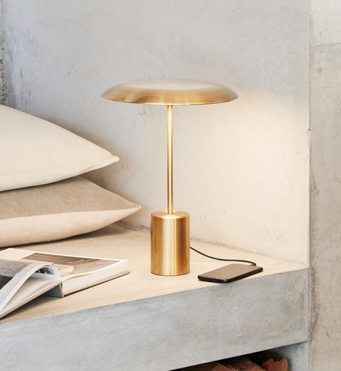 """LEDlux Smith LED Table Lamp with USB Port in Aged Bronze, $189, [Beacon Lighting](https://www.beaconlighting.com.au/ledlux-smith-led-table-lamp-with-usb-port-in-aged-bronze