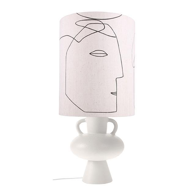 """HK Living printed face lamp shade, $179, [House of Orange](https://www.houseoforange.com.au/collections/table-floor-lamps/products/printed-faces-lampshade-l