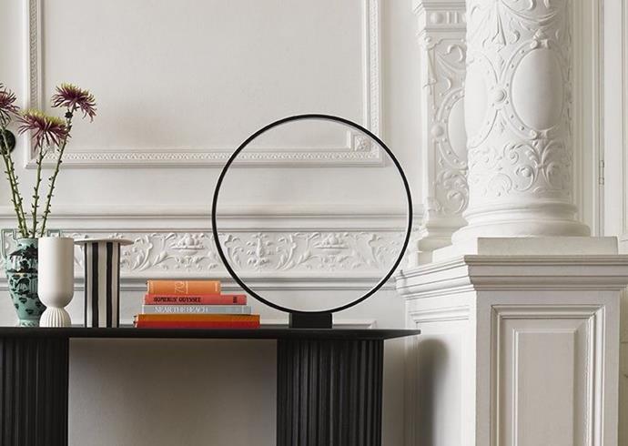 "HK Living Luminous Circle in Black, $369.00, [House of Orange](https://www.houseoforange.com.au/collections/table-floor-lamps/products/luminous-circle-table-lamp-black|target=""_blank""|rel=""nofollow"")"
