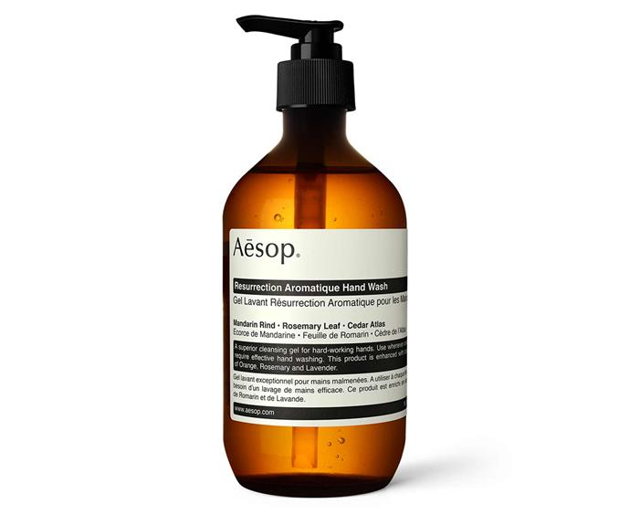 "Resurrection Aromatique hand wash, $40, [Aesop](https://www.aesop.com/au/p/body-hand/hand/resurrection-aromatique-hand-wash/|target=""_blank""