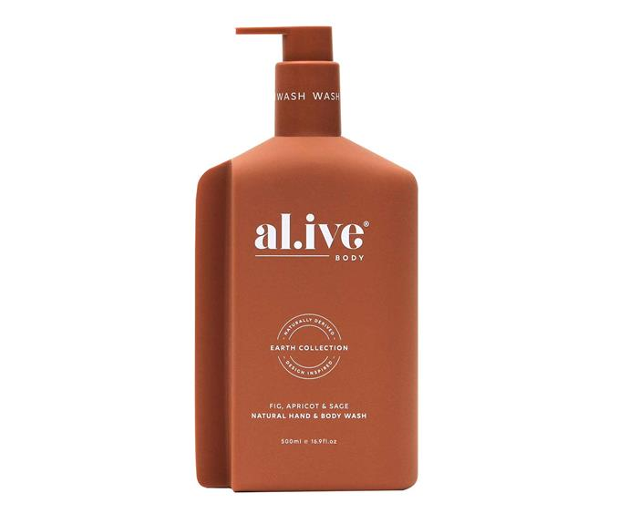 "Fig, apricot and sage natural hand and body wash, $38, [al.ive body](https://alivebody.com.au/collections/shop-the-wash|target=""_blank""