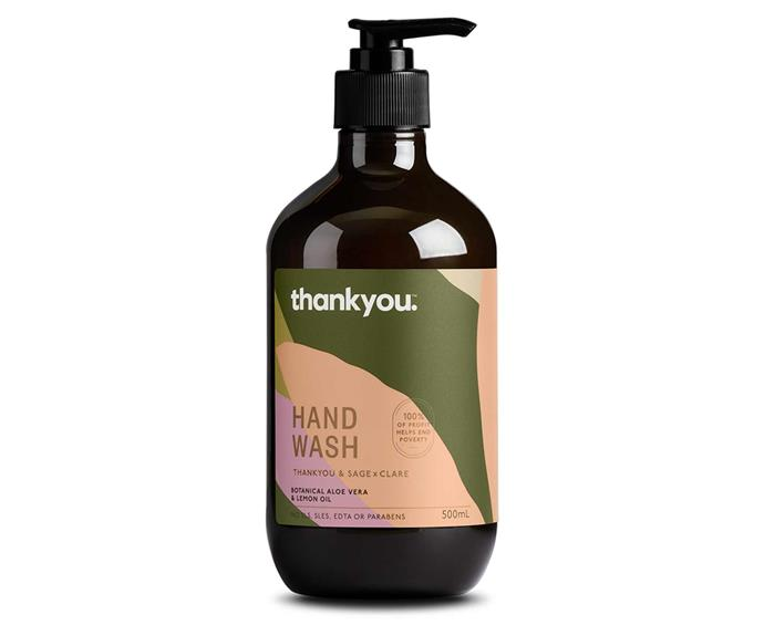 "Thankyou / Sage x Clare botanical lemon oil & aloe vera hand wash, $8.50, [Thankyou](https://thankyou.co/products/thankyou-sage-and-clare-aloe-vera-lemon-oil-hand-wash|target=""_blank""