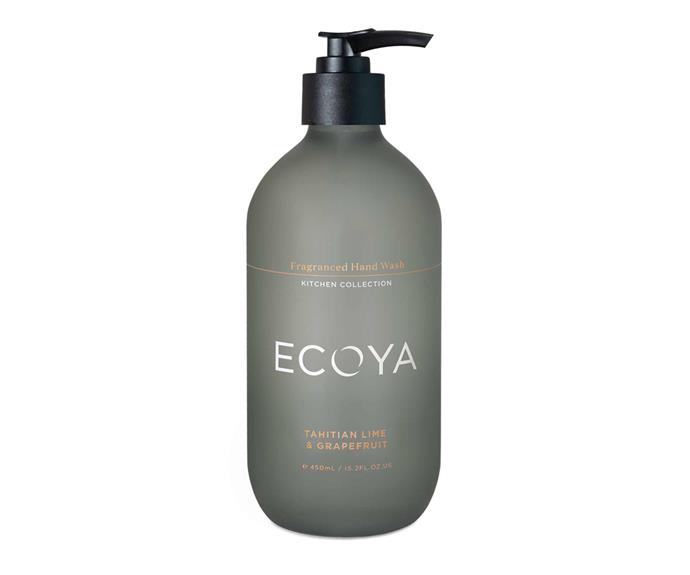 "Tahitian lime and grapefruit fragranced hand wash, $24.95, [Ecoya](https://www.ecoya.com.au/collections/ecoya-kitchen-collection/products/tahitian-lime-grapefruit-fragranced-hand-wash|target=""_blank""