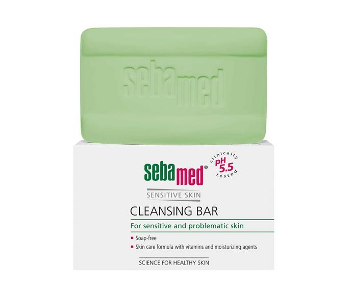 "sebamed sensitive cleansing bar, $9.99, [Beauty HQ](https://www.beautyhq.com.au/collections/sebamed/products/sebamed-cleansing-bar-150g|target=""_blank""