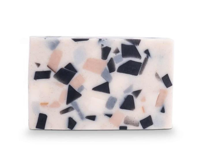 "Absolute terrazzo soap in sage and driftwood, $16, [Oliver Thom](https://oliverthom.com.au/collections/fazeek/products/absolute-terrazzo-soap-sage-driftwood|target=""_blank""