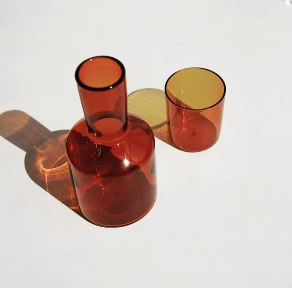 "Maison Balzac J'ai Soif Carafe & Goblet - Amber, $79.00, [My Chameleon](https://www.maisonbalzac.com/products/a-carafe-glass-79 target=""_blank"" rel=""nofollow"")"