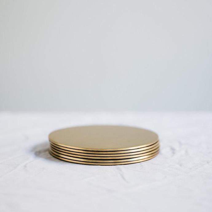 "Brass Coasters, $25, [Pond](https://pond-pond.com/collections/study/products/brasscoaster|target=""_blank""