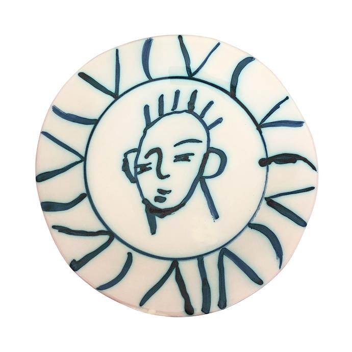 "Apulian Face Dinner Plate, Mediterranean Blue, $99, [Alex and Trahanas](https://alexandtrahanas.com/collections/ceramics/products/apulian-face-dinner-plate-29cm-mediterranean-blue target=""_blank"" rel=""nofollow"")"