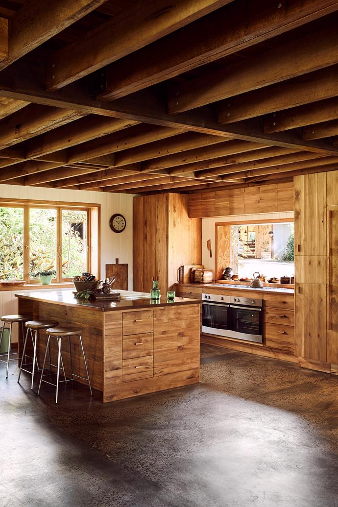 The kitchen cabinetry is made from recycled white beech.