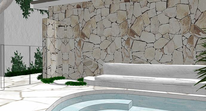 Render of the pool area with crazy paving feature wall.