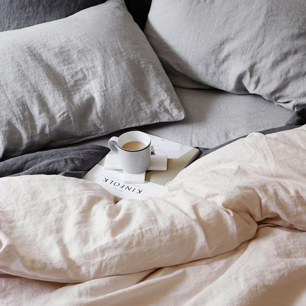 "Linen Duvet Cover - Blush, $295, [Cultiver](https://cultiver.com.au/collections/inspiration/products/kinfolk-coffee|target=""_blank""
