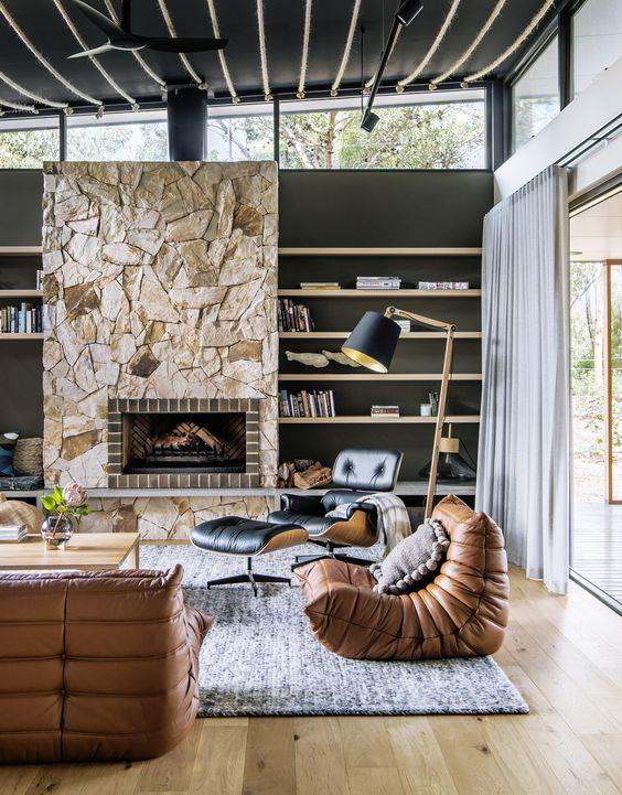 "Built around a huge alfresco area, this [modern beach house](https://www.homestolove.com.au/modern-beach-house-6894|target=""_blank"") in South Australia's Port Willunga has all the ingredients for a relaxing break. Interior design firm Enoki used rustic textures to imbue the home with warmth and comfort."