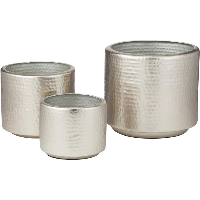 "The Home Collective 3 Piece Tanya Hammered Metal Pot Set, $189, [Temple & Webster](https://www.templeandwebster.com.au/3-Piece-Tanya-Hammered-Metal-Pot-Set-63.028.25-RGUE1690.html?rec_imp=13622e97f7fdd32fb1a04741b4945b31&rec_src=recombee|target=""_blank""