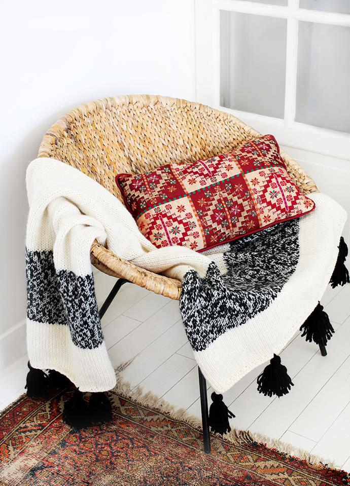 "The Kilim Blanket Knitting kit, $235, [We Are Knitters](https://www.weareknitters.com.au/knitting-kit/knitting-levels/beginner-level/the-kilim-blanket|target=""_blank""