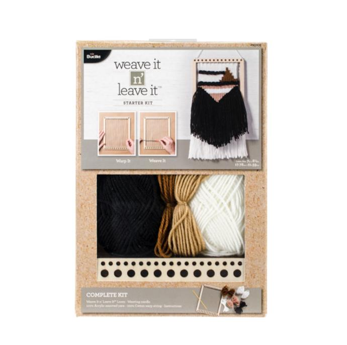 "Bucilla Weave It N' Leave It Rectangle Loom Starter Kit, $34.09, [Catch](https://www.catch.com.au/product/bucilla-weave-it-n-leave-it-rectangle-loom-starter-kit-7-x8-5-1478579/|target=""_blank""