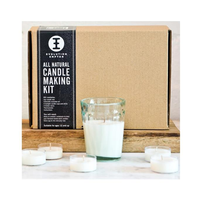 "Candle Making Kit by Evolution Emptor, $47, [Hard To Find](https://www.hardtofind.com.au/133871_candle-making-kit|target=""_blank""
