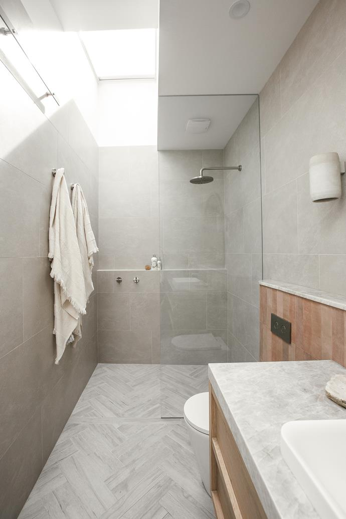 "Natural light floods into the bathroom thanks to two strategically placed Velux skylights. All tiles from [Beamount Tiles](https://www.beaumont-tiles.com.au/|target=""_blank""