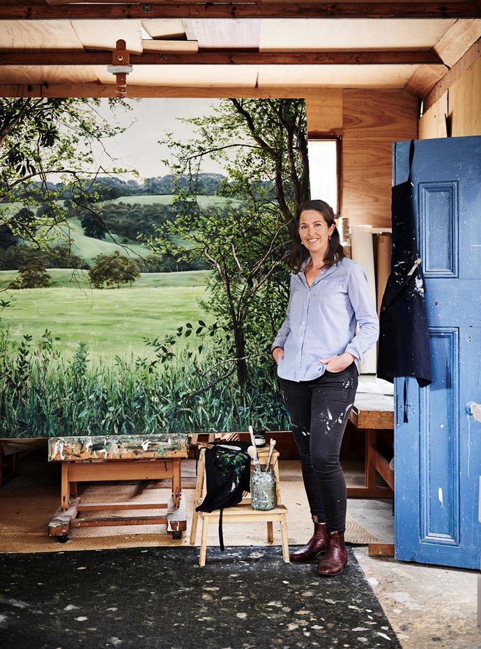 Jennifer with her work, Lure of the Pastures.