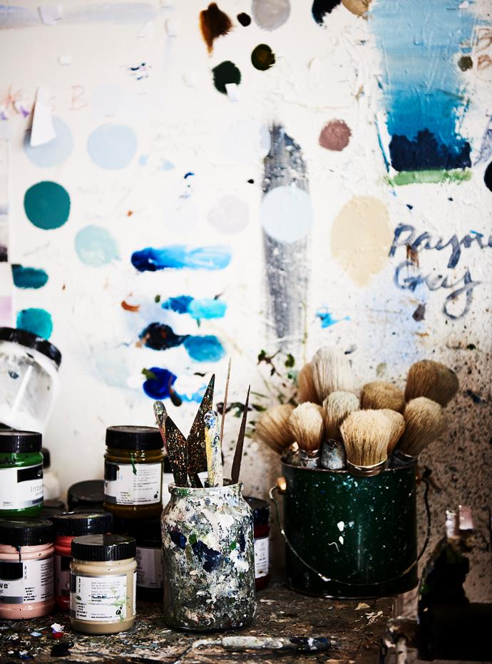 Some of Jennifer's brushes, palette knives and paint.
