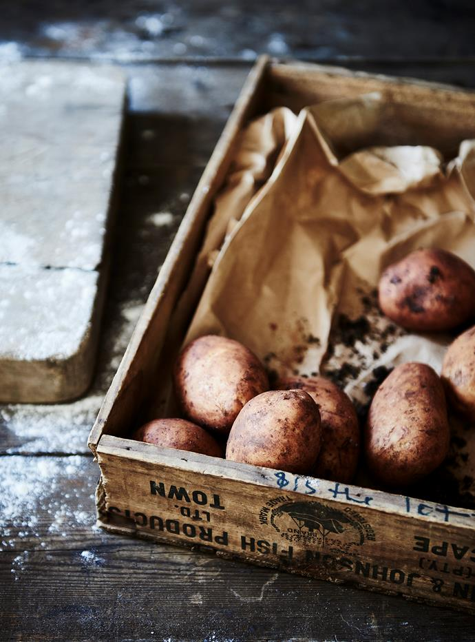 "Dutch Cream potatoes, which Julia describes as having a buttery sweet flavour. ""Their waxy yellow flesh makes them perfect for mashing, roasting and boiling. They're a great potato to have on hand."""