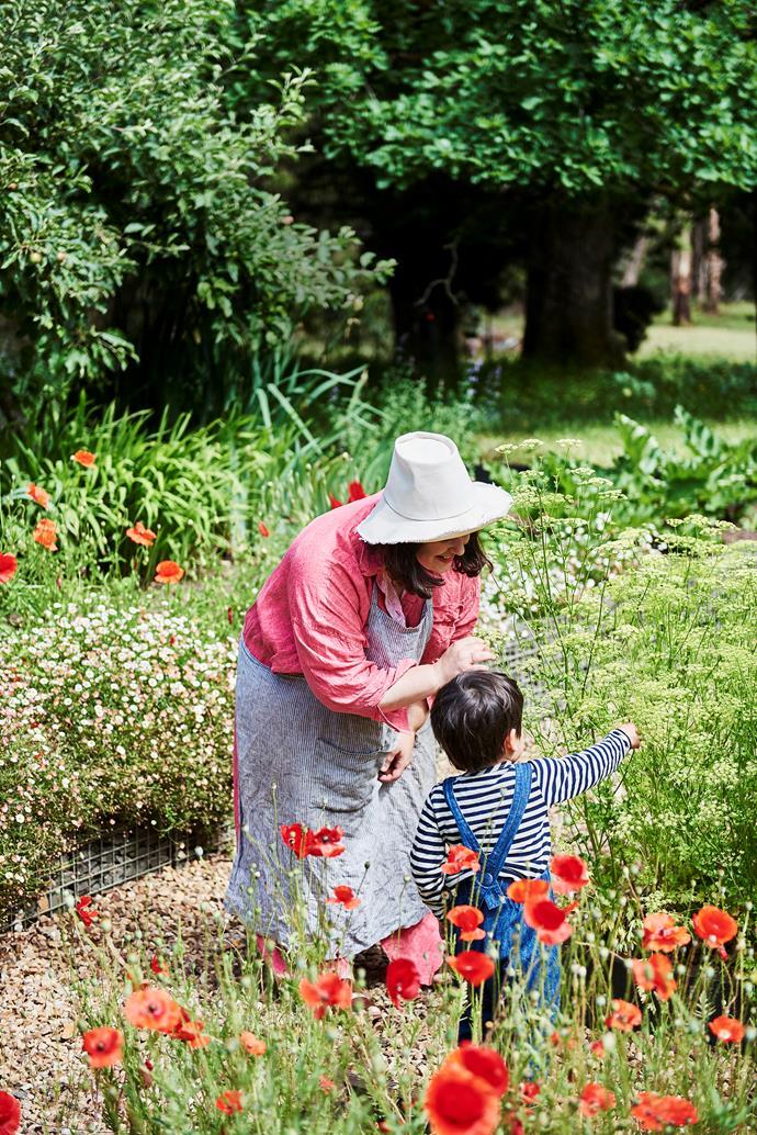Julia and Haruki explore the garden at Oak and Monkey Puzzle in Spargo Creek, Victoria.