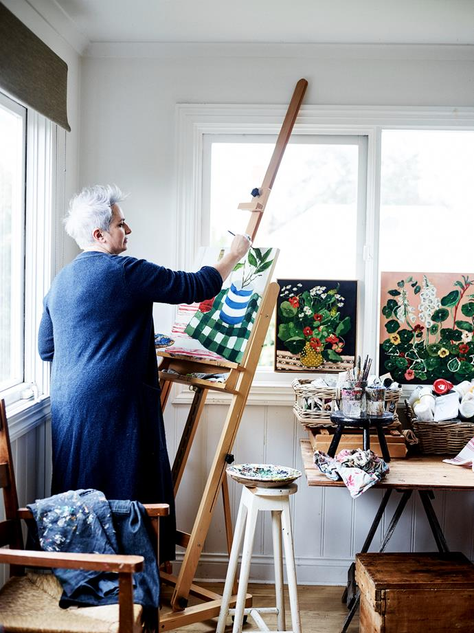 Anna at work in her studio.