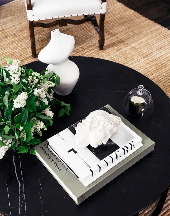 A beautiful coffee table setting styled within Steve's farm in Rosedale. Coffee table, $2400, from MCM House. Sculpture by Sophie Nolan, from Amber Creswell Bell.