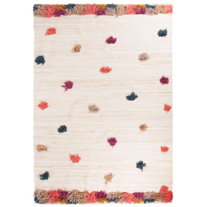"Multi Coloured Bowie Pom Pom rug, $364, [Temple & Webster](https://www.templeandwebster.com.au/Extra-Large-Multi-Coloured-Bowie-Pom-Pom-Rug-CRG39010-CSOL1074.html|target=""_blank""