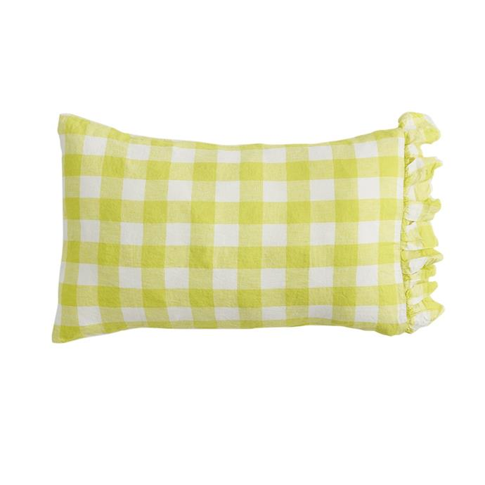 "Limoncello Gingham pillowcase set, $99, [Society of Wanderers](https://societyofwanderers.com/collections/pillowcases/products/pre-order-limoncello-gingham-pillowcase-sets|target=""_blank""
