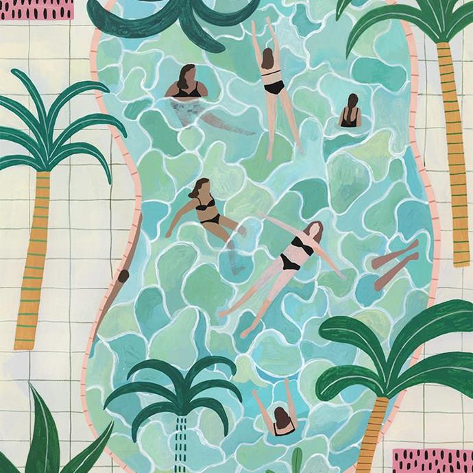 "'Pool Party' print by Miranda Sofroniou, from $120, [Greenhouse Interiors](https://greenhouseinteriors.com.au/collections/view-all-art/products/pool-party?variant=14598811910186|target=""_blank""