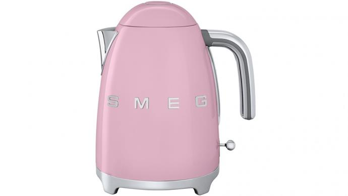 "Smeg kettle in Badged Pink, $199, [Harvey Norman](https://www.harveynorman.com.au/smeg-1-7l-electric-kettle-badged-pink.html|target=""_blank""