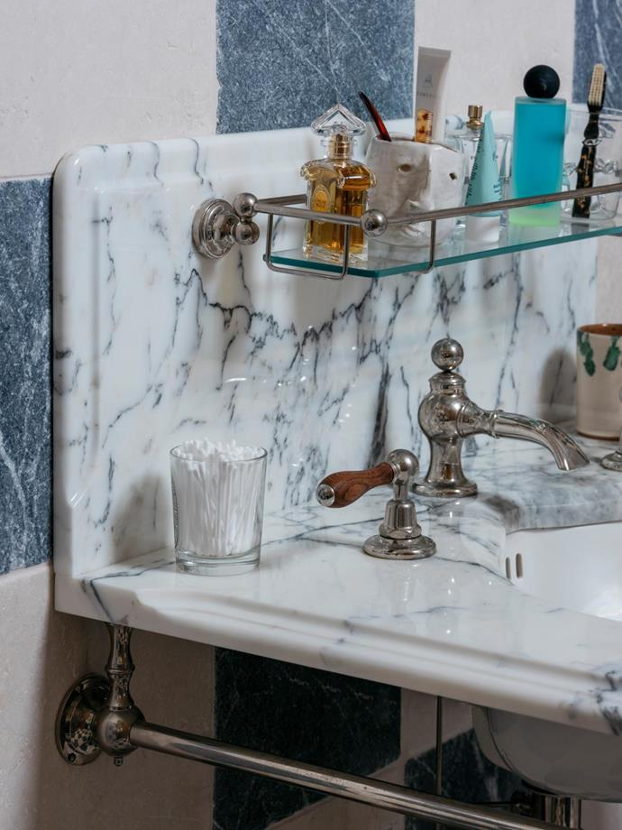 **Vanity** 'The Lowther' single vanity basin suite in White Arabescato marble with Brushed Nickel frame from Drummonds.