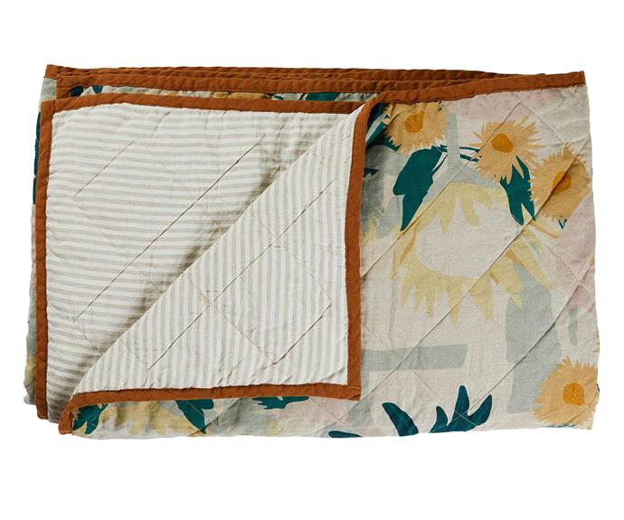 "Returning home art quilt, $399, [Greenhouse Interiors](https://greenhouseinteriors.com.au/|target=""_blank""