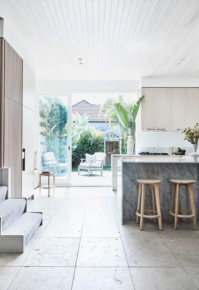 "The owners of this [Bondi semi-detached](https://www.homestolove.com.au/kristy-mcgregor-house-21306|target=""_blank"") home breathed new life into it, turning it from an 'greyish-brown 1970s pebble-concrete render with rotten timber trims' into a coastal haven with a [coastal kitchen](https://www.homestolove.com.au/coastal-kitchen-design-ideas-2747