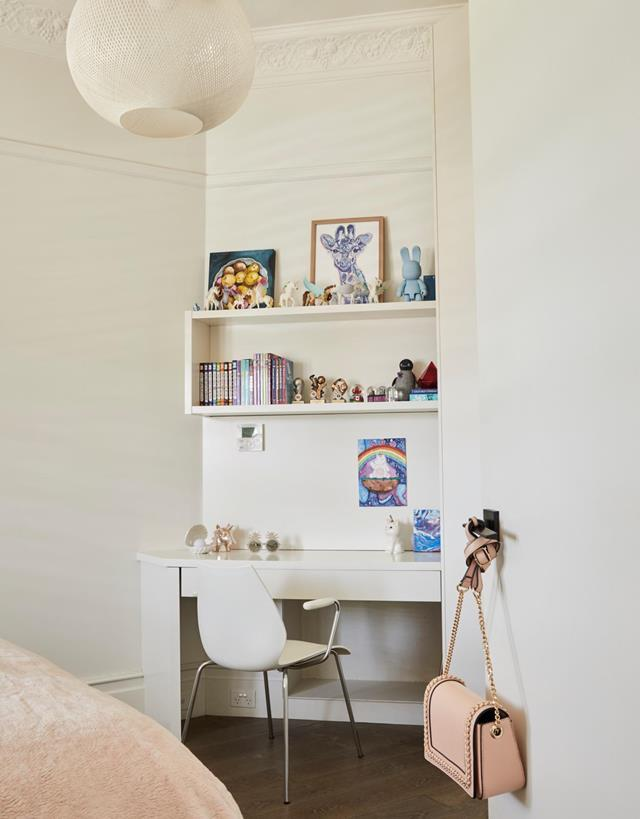 "No girl's room is complete without some shelves to style books and treasures on, and this [former fashion editor's home](https://www.homestolove.com.au/fashion-editors-designer-home-21275|target=""_blank"") has made use of an empty corner with a minimal desk and floating shelf."