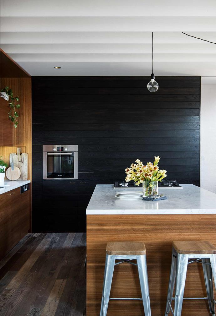 "A timber-veneer base and marble top set the tone in the kitchen of this [new build in Sydney](https://www.homestolove.com.au/reverse-brick-veneer-house-18270|target=""_blank"")."