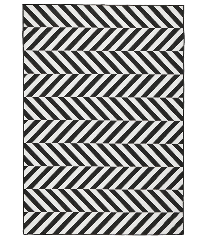 "SKARRILD Rug Flatwoven, In/Outdoor, Black and White, $149, [Ikea](https://www.ikea.com/au/en/p/skarrild-rug-flatwoven-in-outdoor-white-black-70435198/|target=""_blank""