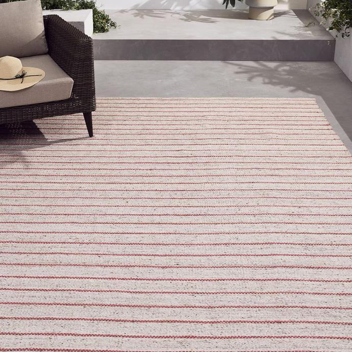 "Cord Stripe Indoor/Outdoor Rugs in Coral, $118.95, [West Elm](https://www.westelm.com.au/cord-stripe-indoor-outdoor-rugs-t4910?quantity=1&attribute_2=Coral|target=""_blank""