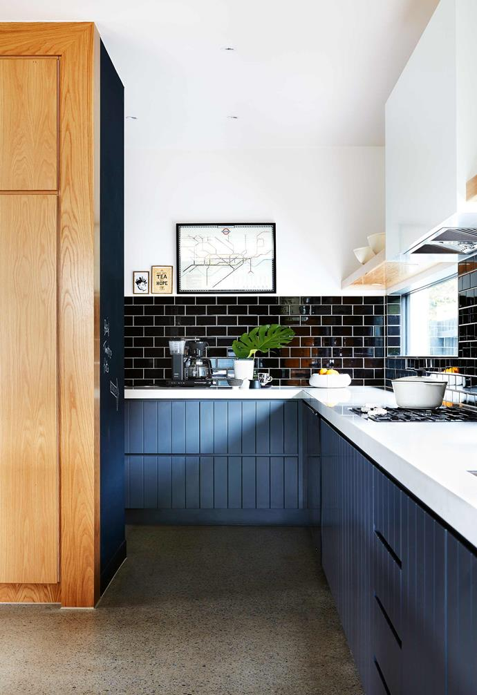 "Renting a nearby property meant Ali and Jay could keep a close eye on progress. Despite having been warned of the hazards and 'surprises' often associated with building, the couple confess to having enjoyed a relatively smooth experience from day one.<br><br>**Kitchen** A London Tube map offers Ali a reminder of home, while the classic black subway tiles from [Beaumont Tiles](https://www.beaumont-tiles.com.au/|target=""_Blank""