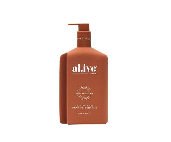 """Fig, apricot and sage natural hand and body wash, $38, [al.ive body](https://alivebody.com.au/collections/shop-the-wash