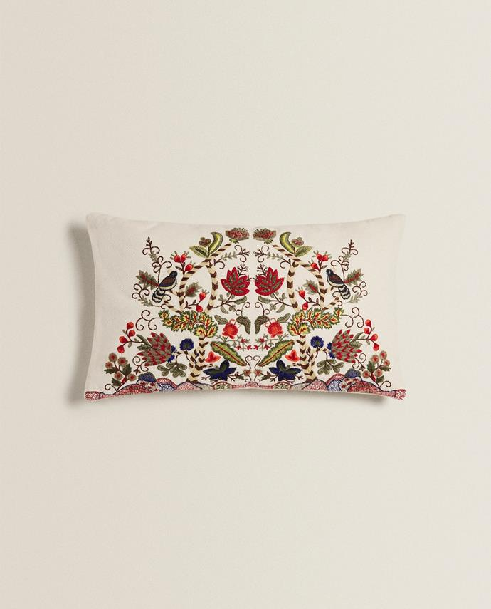 "Embroidered Cushion Cover, $49.90, [Zara Home](https://www.zarahome.com/ca/living-room/cushions/embroidered-cushion-cover-c1020264596p301565506.html?ct=true|target=""_blank""