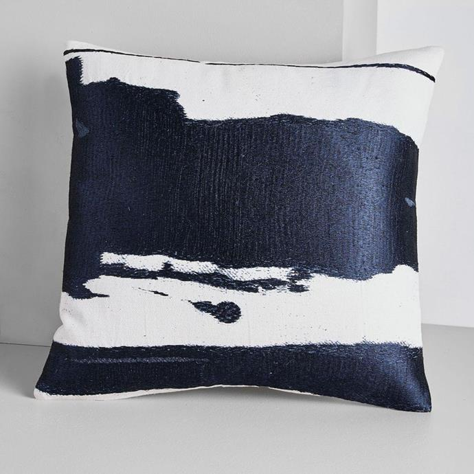 "Ink Abstract Cushion Covers in Midnight, $59.00, [West Elm](https://www.westelm.com.au/ink-mural-pillow-covers-t4612?quantity=1&attribute_1=Midnight|target=""_blank""