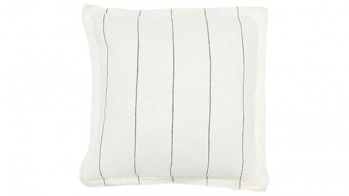 "Carter White Slate Stripe Cushion, $89, [Domayne](https://www.domayne.com.au/carter-white-slate-stripe-cushion.html|target=""_blank""