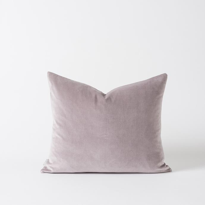 "CITTA DESIGN Cotton Velvet Cushion in Thistle, $75.00, [RJ Living](https://www.rjliving.com.au/buy-cotton-velvet-cushion-thisle.html|target=""_blank""